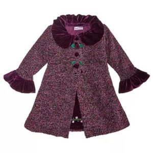 Girls 2-Pc Tweed Coat & Embroidered Dress 6x